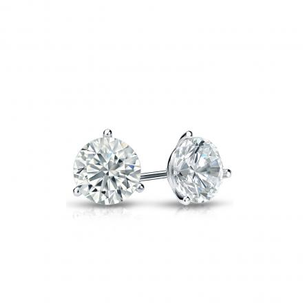 Certified 14k White Gold 3-Prong Martini Round Diamond Stud Earrings 0.33 ct. tw. (J-K, I2)
