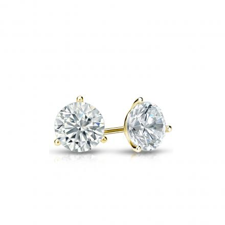 Certified 18k Yellow Gold 3-Prong Martini Round Diamond Stud Earrings 0.33 ct. tw. (J-K, I2)