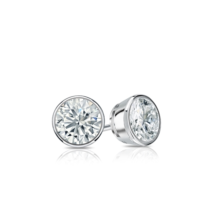 Certified 14k White Gold Bezel Round Diamond Stud Earrings 0.33 ct. tw. (G-H, VS2)