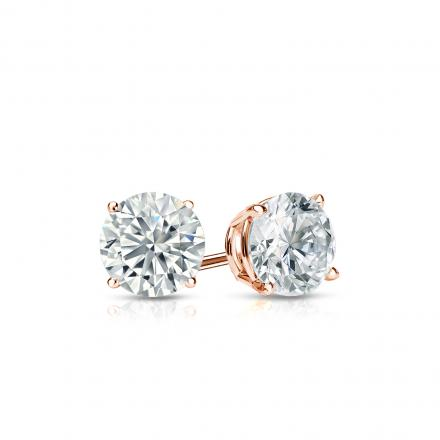 Certified 14k Rose Gold 4-Prong Basket Round Diamond Stud Earrings 0.40 ct. tw. I-J, I1-I2)