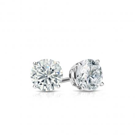 Certified 14k White Gold 4-Prong Basket Round Diamond Stud Earrings 0.40 ct. tw. (I-J, I1-I2)