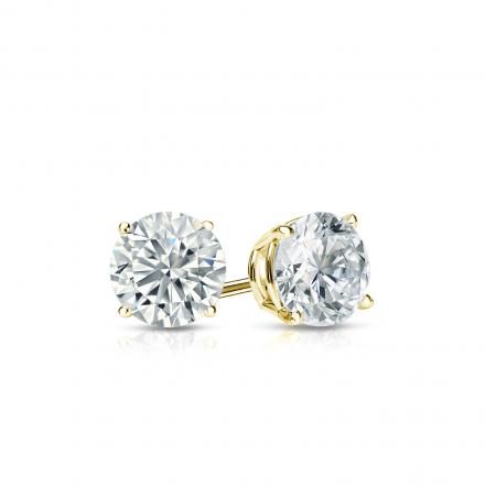 Certified 14k Yellow Gold 4-Prong Basket Round Diamond Stud Earrings 0.40 ct. tw. (H-I, I1-I2)