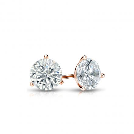 Certified 14k Rose Gold 3-Prong Martini Round Diamond Stud Earrings 0.40 ct. tw. I-J, I1-I2)