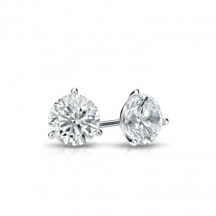 Certified Platinum 3-Prong Martini Round Diamond Stud Earrings 0.40 ct. tw. (J-K, I2)