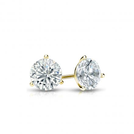 Certified 14k Yellow Gold 3-Prong Martini Round Diamond Stud Earrings 0.40 ct. tw. (I-J, I1-I2)