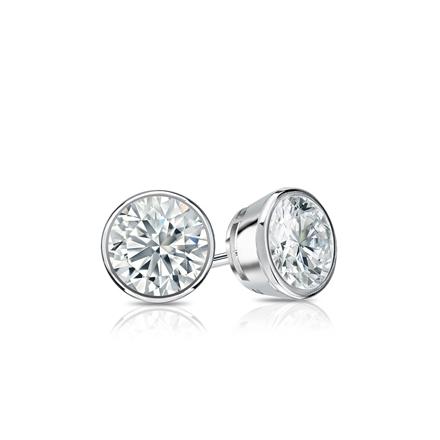 Certified Platinum Bezel Round Diamond Stud Earrings 0.40 ct. tw. (I-J, I1-I2)