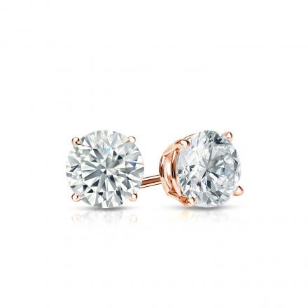 Certified 14k Rose Gold 4-Prong Basket Round Diamond Stud Earrings 0.50 ct. tw. I-J, I1-I2)