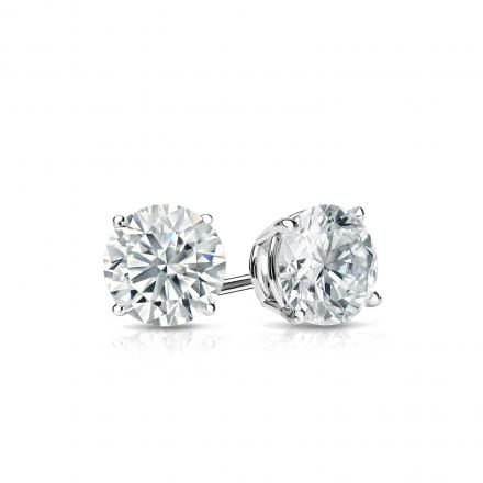 Certified Platinum 4-Prong Basket Round Diamond Stud Earrings 0.50 ct. tw. (I-J, I1-I2)
