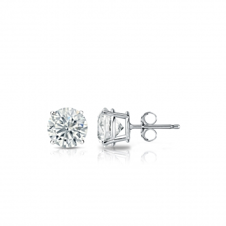 Lab Grown Diamond Studs Earrings Round 0.40 ct. tw. (F-G, VS1-VS2) in 14k White Gold 4-Prong Basket