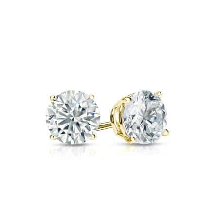 Certified 18k Yellow Gold 4-Prong Basket Round Diamond Stud Earrings 0.50 ct. tw. (I-J, I1-I2)