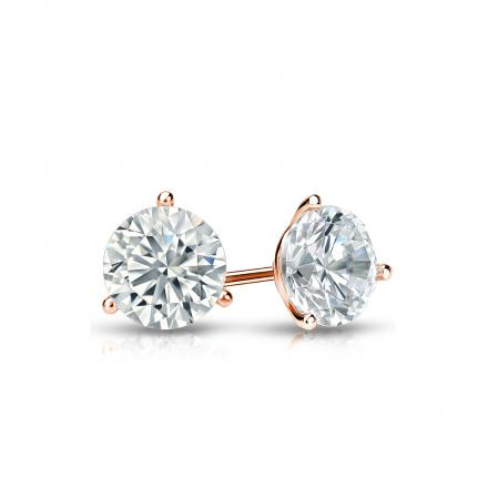 Certified 14k Rose Gold 3-Prong Martini Round Diamond Stud Earrings 0.50 ct. tw. I-J, I1-I2)