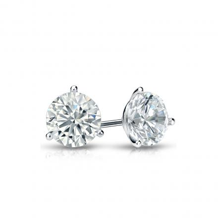 Certified 18k White Gold 3-Prong Martini Round Diamond Stud Earrings 0.50 ct. tw. (I-J, I1-I2)