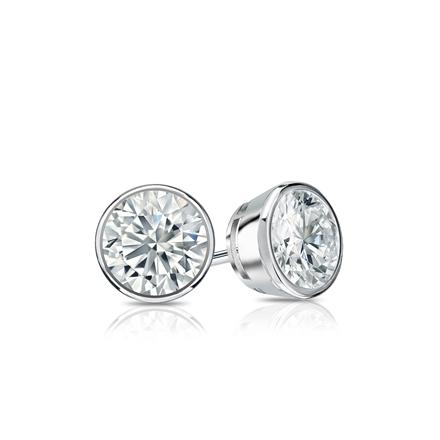 Certified 18k White Gold Bezel Round Diamond Stud Earrings 0.50 ct. tw. (G-H, SI1)