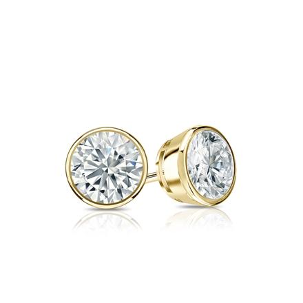 Certified 18k Yellow Gold Bezel Round Diamond Stud Earrings 0.50 ct. tw. (G-H, SI1)