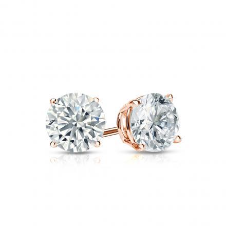 Certified 14k Rose Gold 4-Prong Basket Round Diamond Stud Earrings 0.62 ct. tw. I-J, I1-I2)