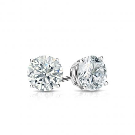 Certified 18k White Gold 4-Prong Basket Round Diamond Stud Earrings 0.62 ct. tw. (J-K, I2)