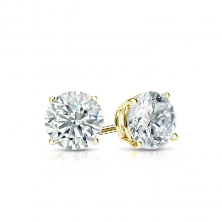 Certified 18k Yellow Gold 4-Prong Basket Round Diamond Stud Earrings 0.62 ct. tw. (I-J, I1-I2)