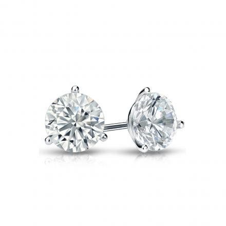 Certified 14k White Gold 3-Prong Martini Round Diamond Stud Earrings 0.62 ct. tw. (J-K, I2)