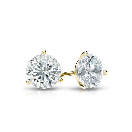 Certified 18k Yellow Gold 3-Prong Martini Round Diamond Stud Earrings 0.62 ct. tw. (I-J, I1-I2)