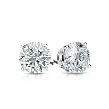 Certified 14k White Gold 4-Prong Basket Round Diamond Stud Earrings 0.75 ct. tw. (G-H, SI2)