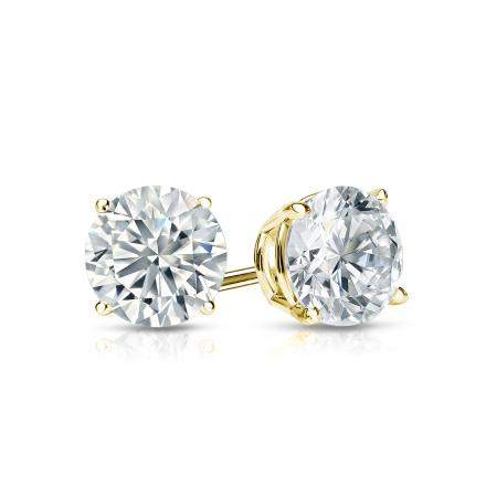 Certified 18k Yellow Gold 4-Prong Basket Round Diamond Stud Earrings 0.75 ct. tw. (I-J, I1-I2)
