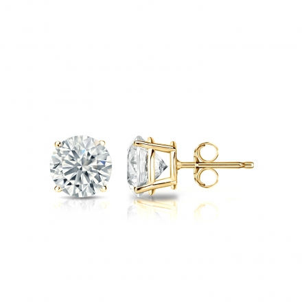Lab Grown Diamond Studs Earrings Round 0.75 ct. tw. (E-F, VS1-VS2) in 14k Yellow Gold 4-Prong Basket