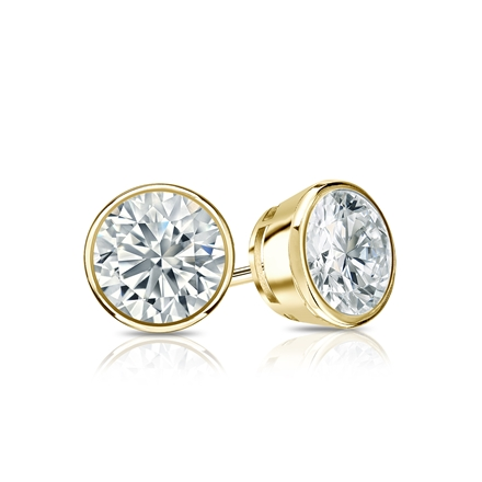 Certified 14k Yellow Gold Bezel Round Lab Grown Diamond Stud Earrings 0.75 ct. tw. (G-H, VS1-VS2)