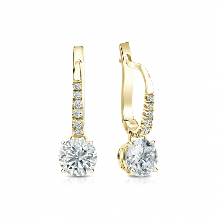 Certified 14k Yellow Gold Dangle Studs 4-Prong Basket Round Diamond Earrings 1.00 ct. tw. (G-H, VS1-VS2)