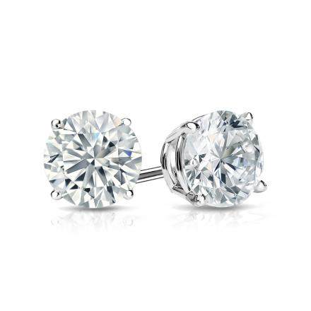 Certified 14k White Gold 4-Prong Basket Round Diamond Stud Earrings 1.00 ct. tw. (J-K, I2)