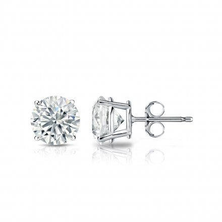 IGI Certified Lab Grown Diamond Studs Earrings Round 1.40 ct. tw. (F-G, VS1-VS2) in 14k White Gold 4-Prong Basket