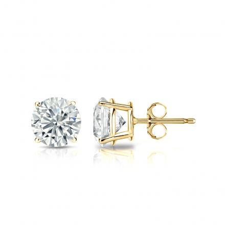 Lab Grown Diamond Studs Earrings Round 1.00 ct. tw. (D-E, VS1-VS2) in 14k Yellow Gold 4-Prong Basket