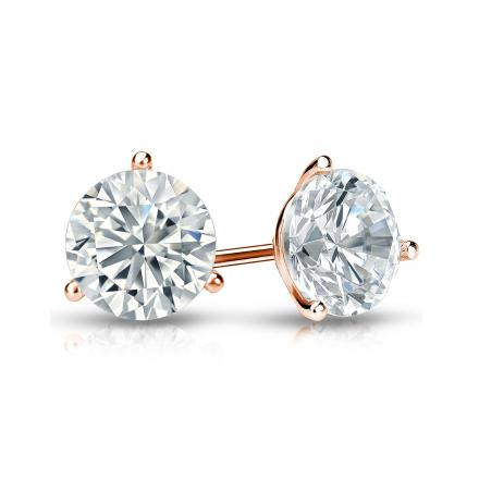 Certified 14k Rose Gold 3-Prong Martini Round Diamond Stud Earrings 1.00 ct. tw. (H-I, SI1-SI2)