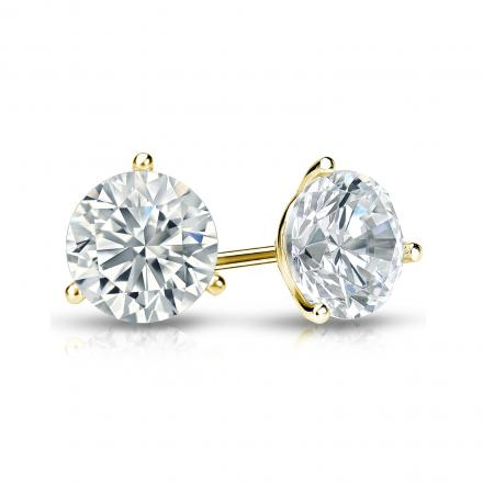 Certified 14k Yellow Gold 3-Prong Martini Round Diamond Stud Earrings 1.00 ct. tw. (I-J, I1-I2)