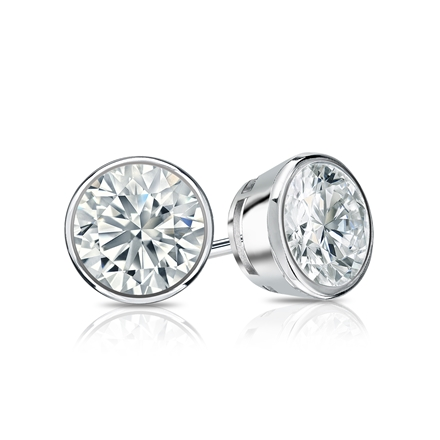 Certified 18k White Gold Bezel Round Diamond Stud Earrings 1.00 ct. tw. (H-I, SI1-SI2)