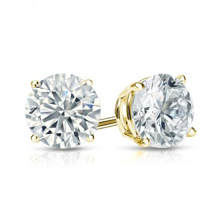 Certified 14k Yellow Gold 4-Prong Basket Round Diamond Stud Earrings 1.25 ct. tw. (H-I, I2-I3)