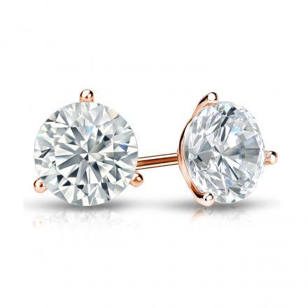Certified 14k Rose Gold 3-Prong Martini Round Diamond Stud Earrings 1.25 ct. tw. I-J, I1-I2)