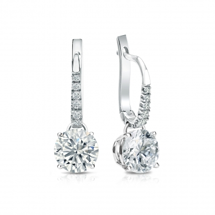 Certified Platinum Dangle Studs 4-Prong Basket Round Diamond Earrings 1.50 ct. tw. (H-I, SI1-SI2)