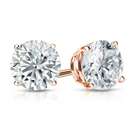 Certified 14k Rose Gold 4-Prong Basket Round Diamond Stud Earrings 1.50 ct. tw. (G-H, VS1-VS2)
