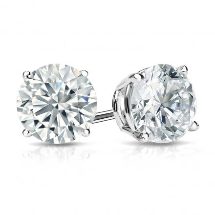 Certified 14k White Gold 4-Prong Basket Round Diamond Stud Earrings 1.50 ct. tw. (H-I, I2-I3)