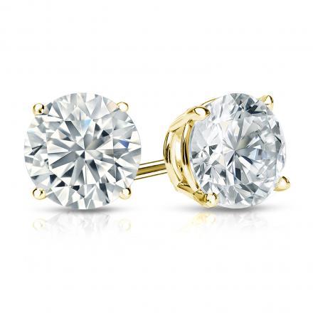 Certified 14k Yellow Gold 4-Prong Basket Round Diamond Stud Earrings 1.50 ct. tw. (I-J, I1-I2)