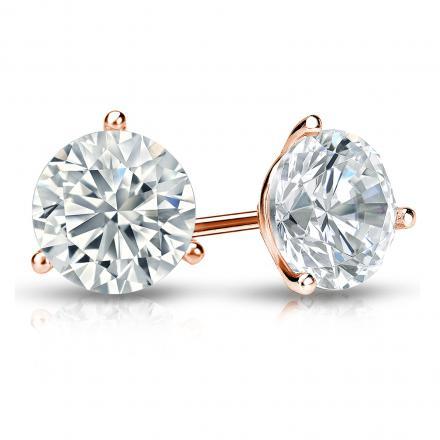 Certified 14k Rose Gold 3-Prong Martini Round Diamond Stud Earrings 1.50 ct. tw. I-J, I1-I2)
