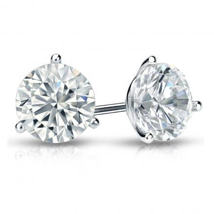 Certified 18k White Gold 3-Prong Martini Round Diamond Stud Earrings 1.50 ct. tw. (H-I, SI1-SI2)