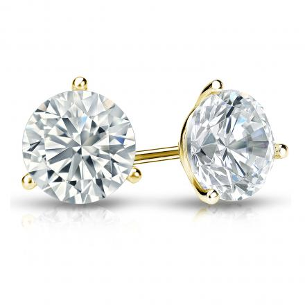 Certified 14k Yellow Gold 3-Prong Martini Round Diamond Stud Earrings 1.50 ct. tw. (I-J, I1-I2)