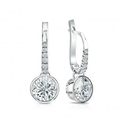 Certified 14k White Gold Dangle Studs Bezel Round Diamond Earrings 1.50 ct. tw. (I-J, I1-I2)