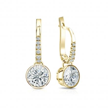 Certified 14k Yellow Gold Dangle Studs Bezel Round Diamond Earrings 1.50 ct. tw. (G-H, VS1-VS2)