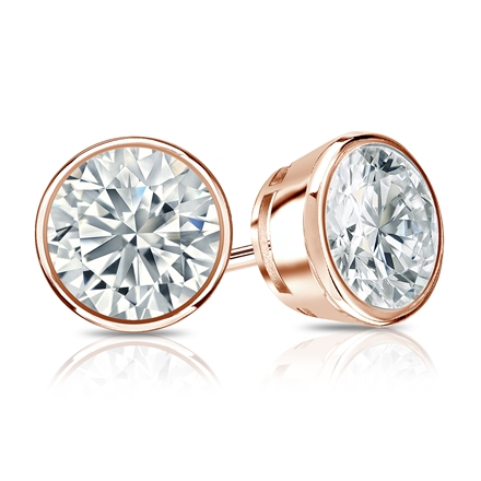 Certified 14k Rose Gold Bezel Round Diamond Stud Earrings 1.50 ct. tw. I-J, I1-I2)