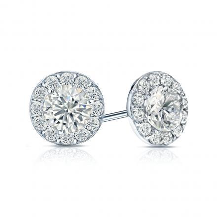Certified 14k White Gold Halo Round Diamond Stud Earrings 1.50 ct. tw. (G-H, VS1-VS2)