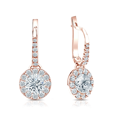 Certified 14k Rose Gold Dangle Studs Halo Round Diamond Earrings 1.50 ct. tw. (H-I, SI1-SI2)