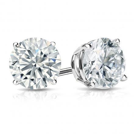 Certified Platinum 4-Prong Basket Round Diamond Stud Earrings 1.75 ct. tw. (J-K, I2)