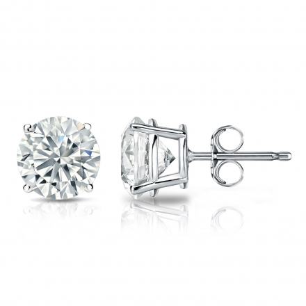 Lab Grown Diamond Studs Earrings Round 1.80 ct. tw. (I-J, SI1-SI2) in 14k White Gold 4-Prong Basket
